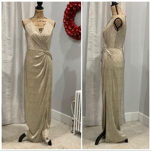 Ralph Lauren gold beaded floor length dress size 6